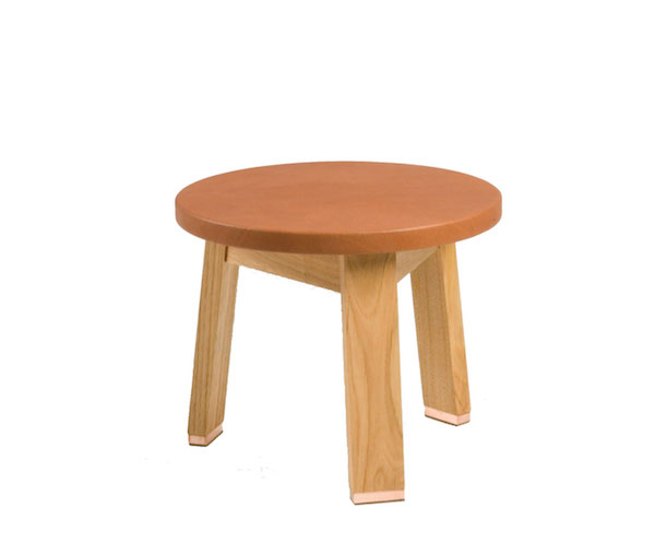 Hocker mit Ledersitz, Low Stool Upholstered Eiche