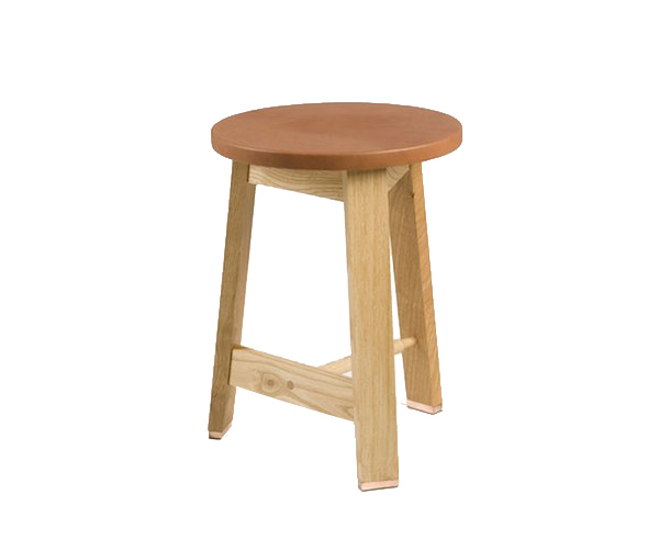 Hocker mit Ledersitz, Stool Upholstered Eiche