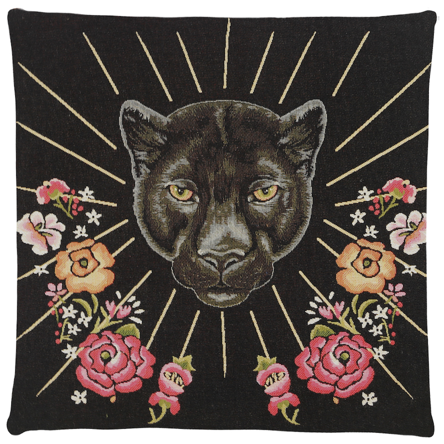 Kissen, Psychedelic Panther, Schwarz - FS Home Collections - Bild 1