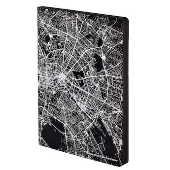 Notizbuch, Graphic L Light - Nightflight Over Berlin, Silver (A5)
